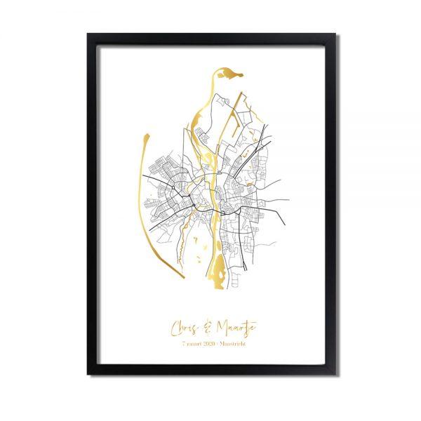 Huwelijksposter-goudfolie-stadskaart